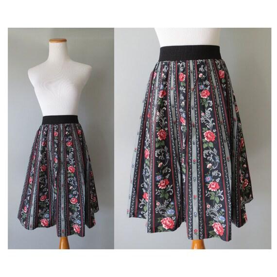 Black Floral Skirt / Floral High Waisted Midi Skirt / Cotton Skirt / Skirt with Pockets / Boho Bohemian Hippie Skirt / Vitabella Norway