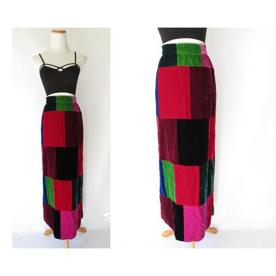 Velvet Maxi Skirt / Patchwork Skirt / 70's Maxi Skirt / 1970's Patchwork Skirt / Size XS / Jewel Tones Skirt / Festival Skirt