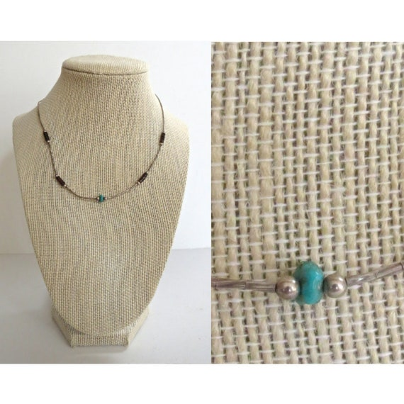 Turquoise Choker / Turquoise Bead Necklace / Liquid Silver Necklace / Heshi Bead Necklace / 70's Necklace / Boho Hippie Choker