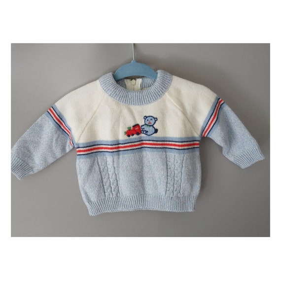 Vintage Baby Sweater Infant Teddy Bear Sweater