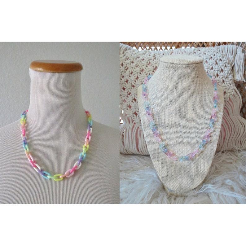 Rainbow Choker Kawaii Mini Plastic Chain Necklace image 0