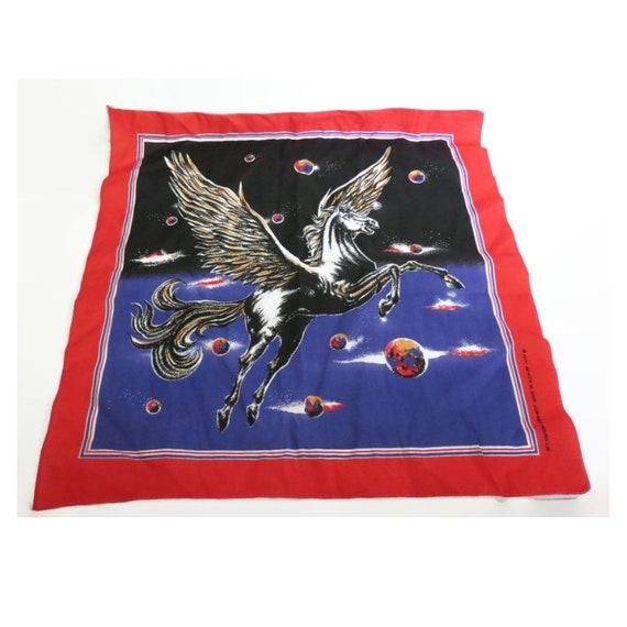 Pegasus Bandana / Pegasus Scarf / Cosmic Scarf / 1980's Bandana / Pegasus Tapestry / Galaxy Scarf / Vintage Neckerchief