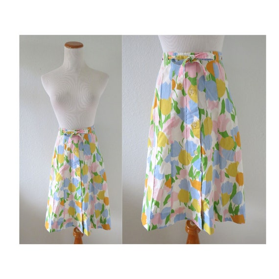 Floral Print Skirt 70s Button Up Spring Skirt