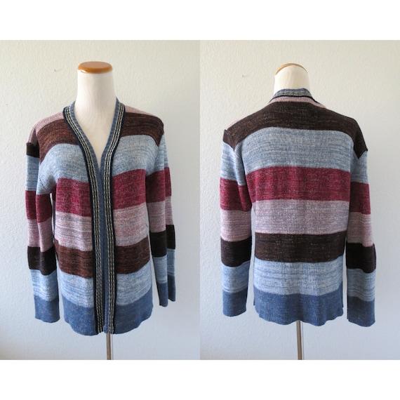 70s Sweater Space Dye Knit Cardigan