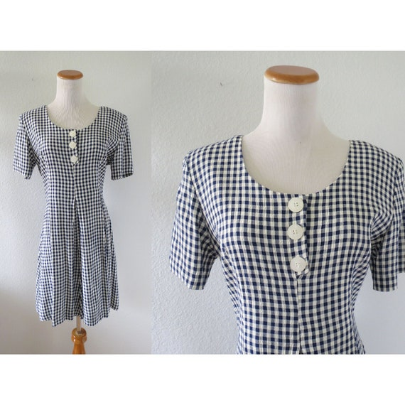 90s Romper 1990s Blue Gingham Playsuit