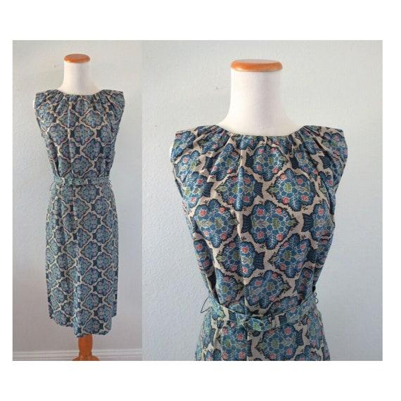 60s Wiggle Dress Abstract Print Sheath Dress