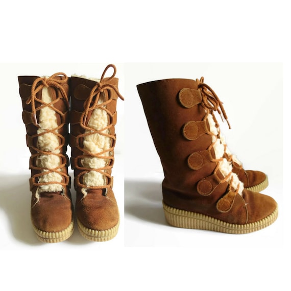 Boho Hippie Platform Lace Rubber Shearling Winter Suede Boots Size Bohemian Up Boots 6 Shoes 70's Boots Soles Trapper Aqgvf