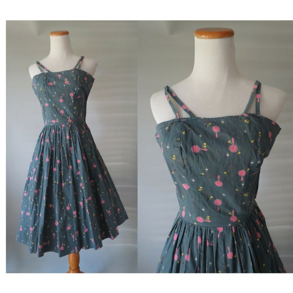 1950s Dress Novelty Print Cotton Sundress