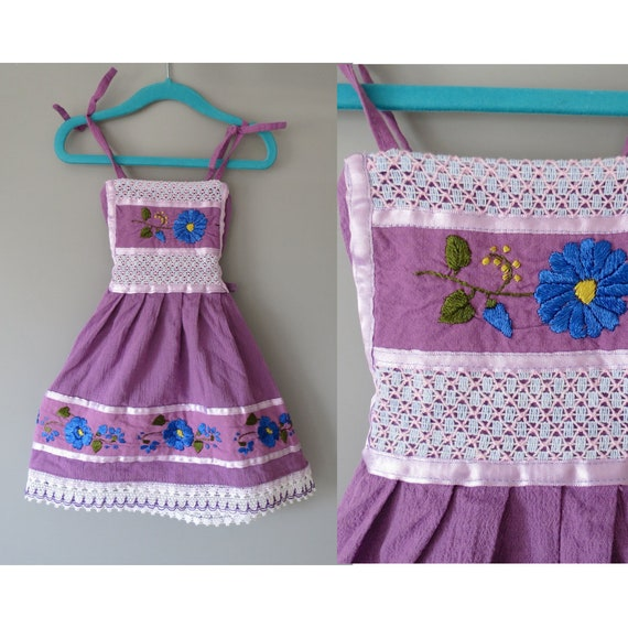 Toddler Girl's Sundress / Vintage Mexican Dress / Embroidered Sundress / Boho Baby Dress / Purple Sundress / Size 2T