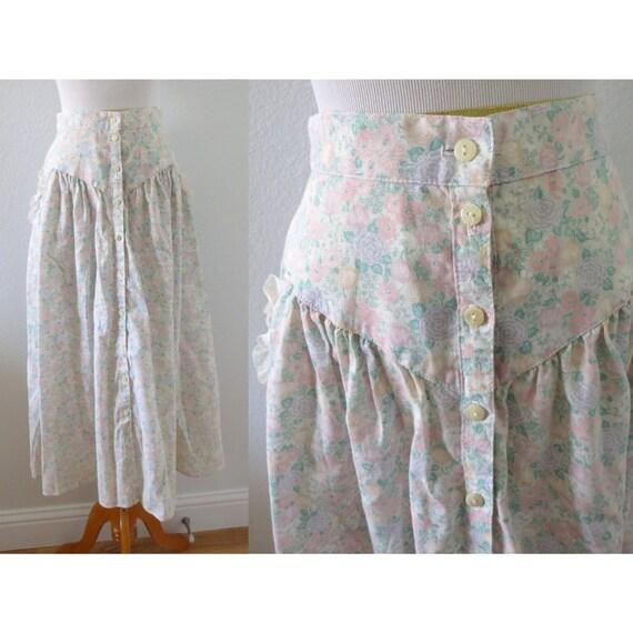 Vintage Gunne Sax Skirt Floral Prairie Skirt