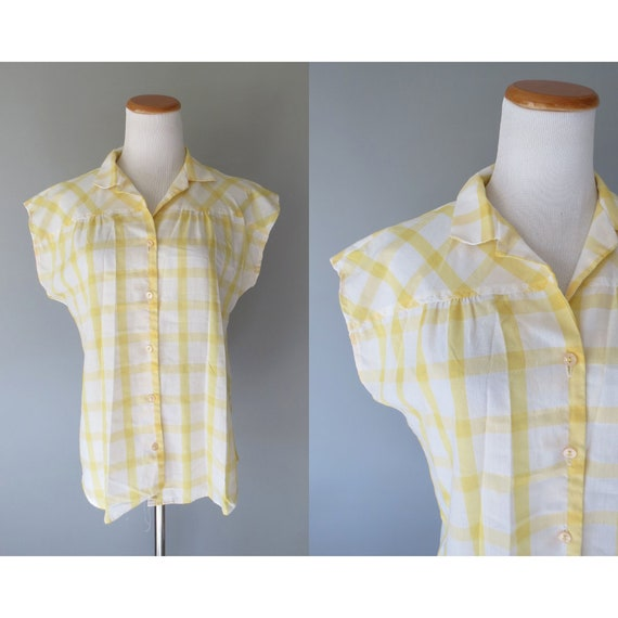 Yellow Plaid Blouse / 80's Plaid Top / Yellow Plaid Top / 1980's Button Up Shirt / Size Medium Large / Pastel Plaid Blouse / Stranger Things