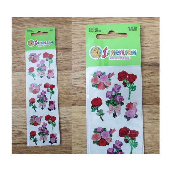 Sandylion Sticker Sheet Prismatic Roses Flowers