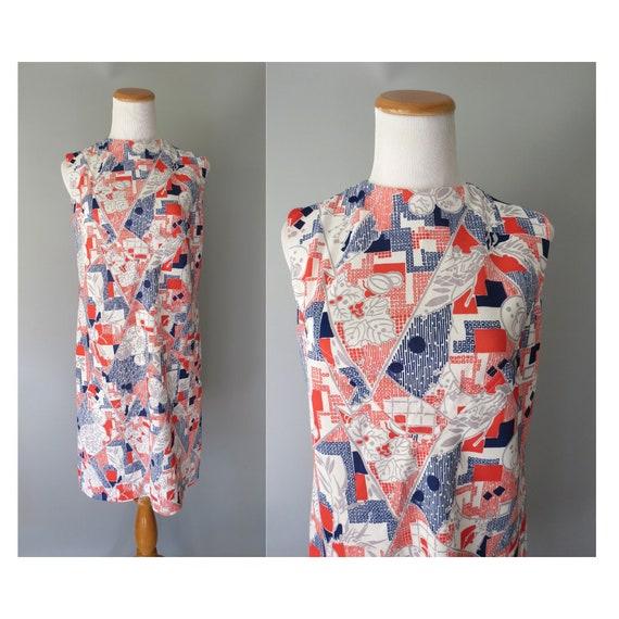 60's Shift Dress / Op Art Dress / Abstract Print Dress / Mod Dress / Sleeveless / Size Medium M / Red White Blue / Psychedelic Print