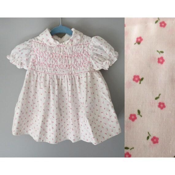 Vintage Baby Dress Smocked Floral Dress