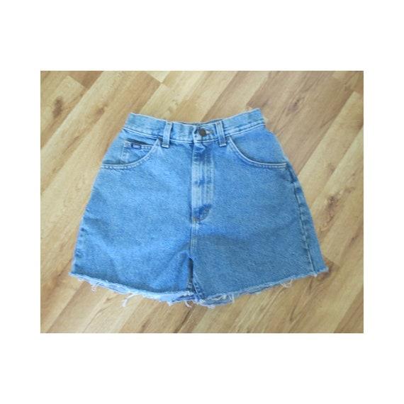 "Lee Denim Shorts / 90's Mom Shorts / Frayed Jean Shorts / High Waisted / Cut Off Shorts / Medium Blue Wash / Size Small S / 25"" Waist"