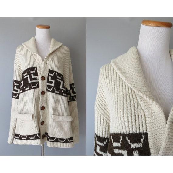 70's Cardigan Sweater / Cowichan Sweater / Size XL / Shawl Collar Cardigan / Lebowski Sweater / Unisex / Oversized Sweater / Hippie Sweater