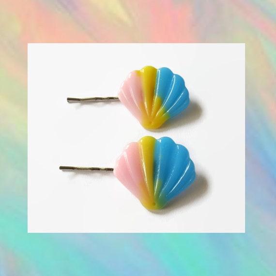 Seashell Bobby Pin Hair Clip Mermaid Hair Accessory Pastel Goth Glitter Fairy Kei Rave Sparkly Barrette Ocean Sea