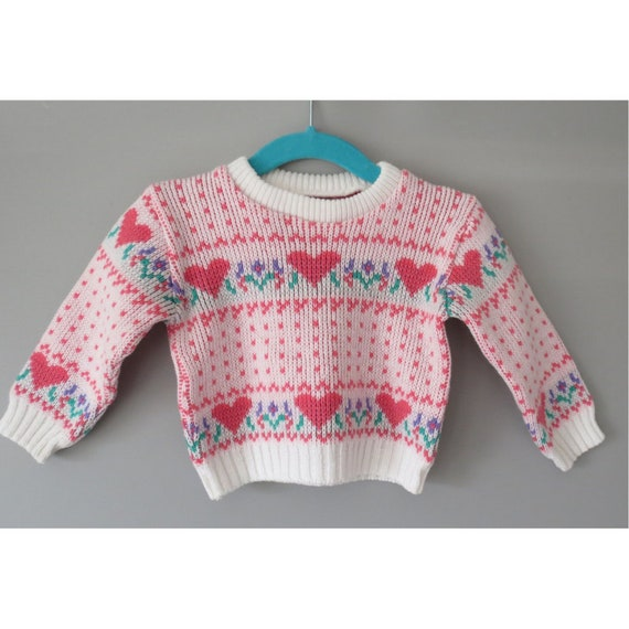 Toddler Heart Sweater / Girl's Heart Pullover Sweater / Novelty Sweater / 24 Months / Made in Japan / 1970's Sweater
