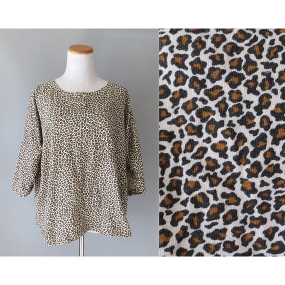 Leopard Print Shirt / Oversized Leopard Top / 80's Animal Print Blouse / Gitano Shirt / Leopard Blouse / Size XL 1X / 1980's Shirt