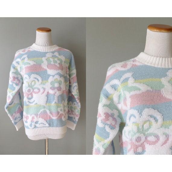 80's Pastel Sweater / Glitter Sweater / Floral Sweater / Fairy Kei Kawaii / Pastel Grunge / Sparkly Sweater / Medium Large