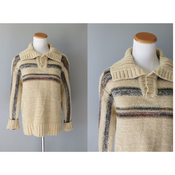 70s Hippie Sweater Knit Bohemian Pullover