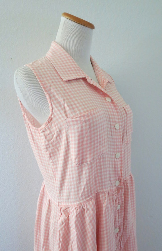 90s Romper Pink Gingham Rayon Playsuit - image 5