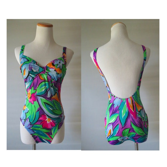 80s One Piece Swimsuit Tropical Print Bathing Suit