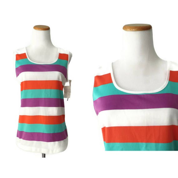 Rainbow Tank Top / Striped Blouse / 80's Tank Top / Deadstock Vintage / Bold Striped Blouse / Stretchy Shirt / Size Medium