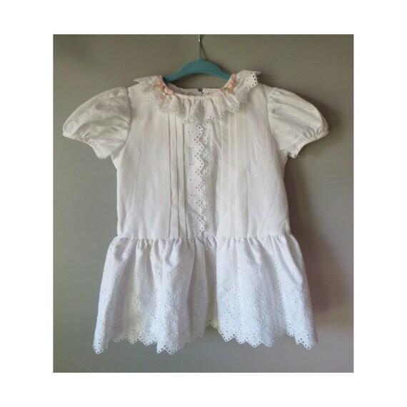 Vintage White Toddler Dress Eyelet Lace