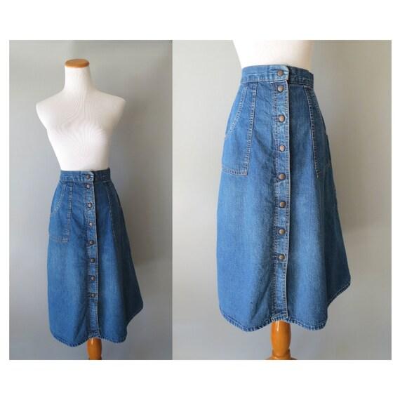 Denim Midi Skirt / Button Up Denim Skirt / Jean Skirt / High Waisted / Size XXS XS / Boho Hippie Skirt / Pockets / 70's Denim Skirt
