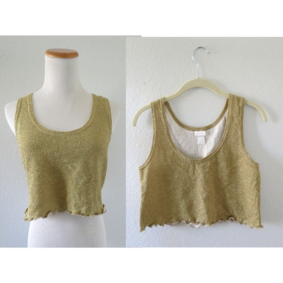 Glitter Crop Top Gold Sparkly Cropped Tank