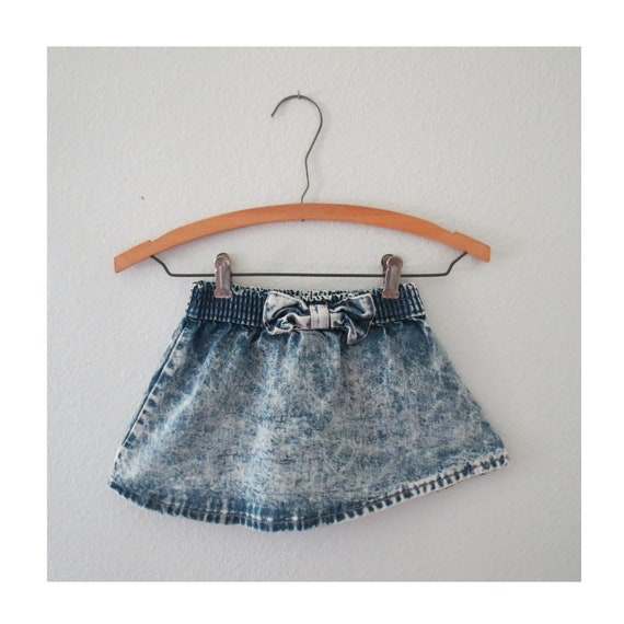 Vintage Toddler Denim Skirt Girls Bow Jean Skirt