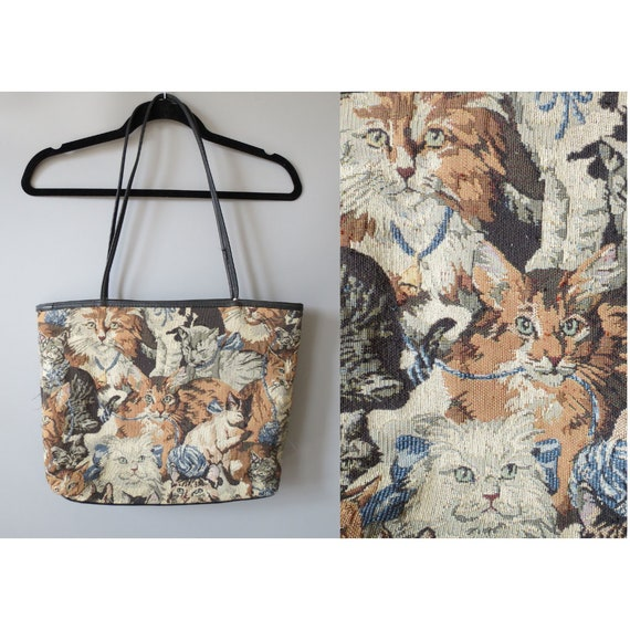 Cat Tapestry Bag / Cat Tote Bag / Cat Tapestry Print / Cat Print Shoulder Bag / 90's Cat Purse / Cat Lover Purse
