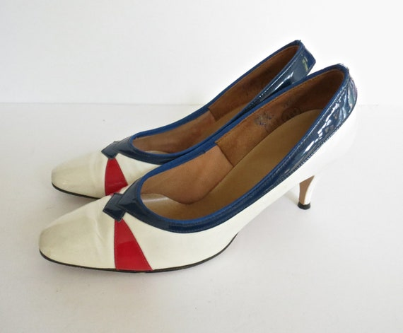 60's Patent Leather Heels / Mod Heels / 1960's Stilettos / Red White Blue Pumps / Size 6 AA Extra Narrow / Shiny Patent Heels