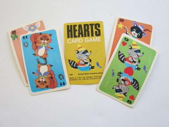 Vintage Playing Cards / Retro Children's Hearts Cards / Junk Journal / Kitsch Cards / Paper Ephemera / Craft Supplies / Mod Hippie Cards