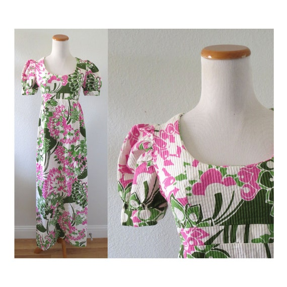 60s Maxi Dress Psychedelic Hawaiian Dress