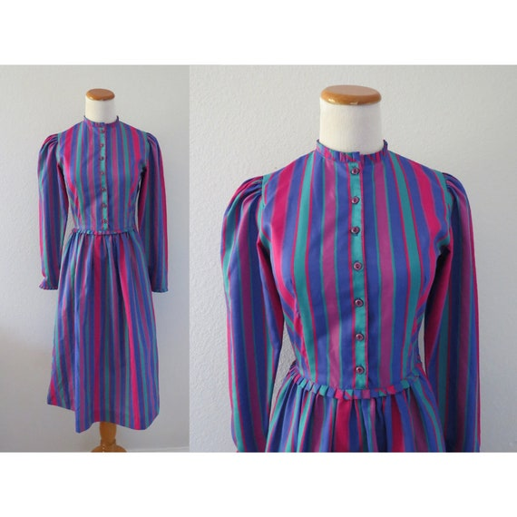 Rainbow Striped Dress Vintage Lanz Originals Dress