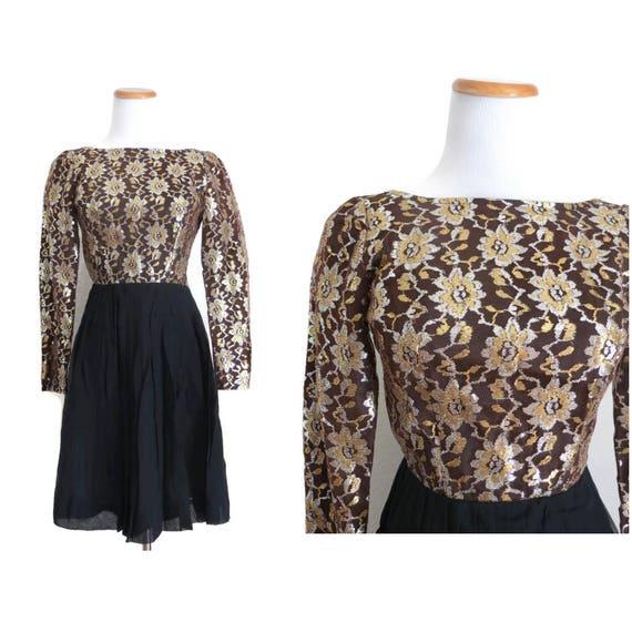 60s Party Dress Lace Mini Dress 1960s Metallic Gold Black Cocktail Formal Prom Mod Mid Century XXS Junior Petite