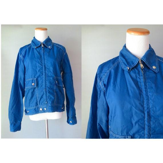 Vintage Rain Jacket / Blue Rain Slicker / Blue Nylon Jacket / Unisex Rain Coat / 1970's Jacket / 70's Rain Coat / Size Small