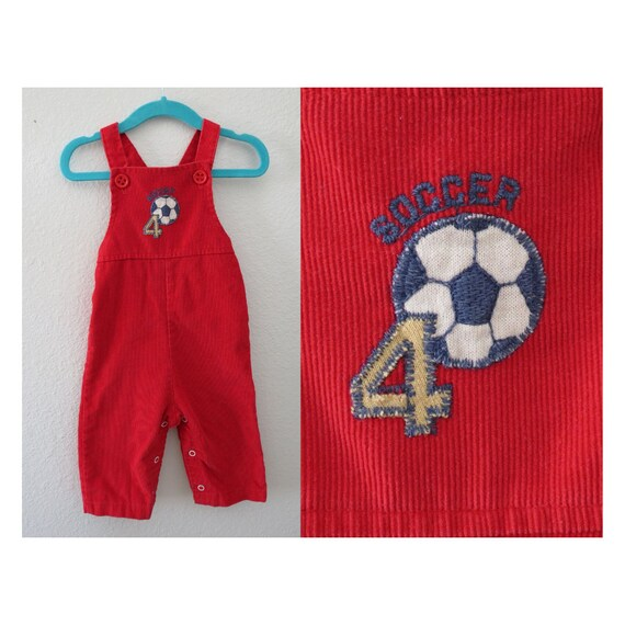 Baby Overalls Red Corduroy Romper Outfit