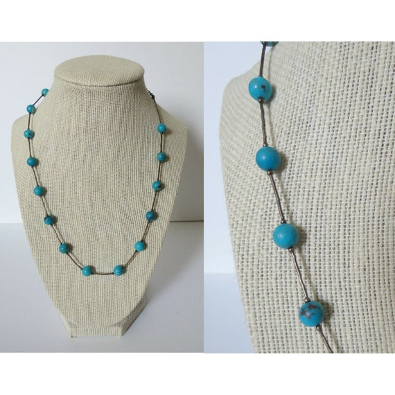 Turquoise Bead Necklace Liquid Silver Chain Necklace Southwestern Southwest Boho Bohemian Hippie Jewelry Western