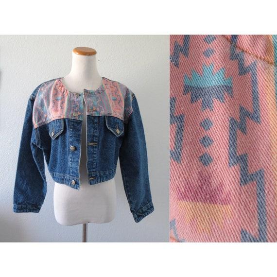 Southwestern Jacket Cropped Denim Aztec Western Jean Jacket