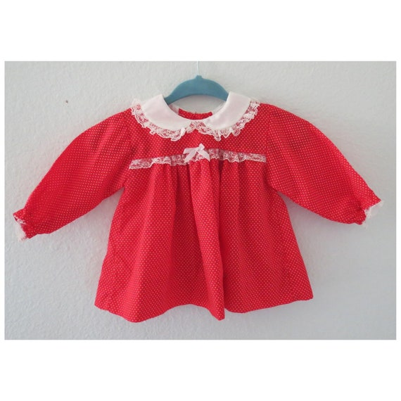 Vintage Baby Dress Red Polka Dot Lace