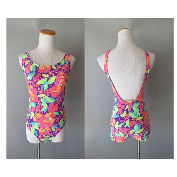 90's Swimsuit / 1990's Bathing Suit / Neon Floral Swimsuit / One Piece Bathing Suit / Scoop Back / Size Large