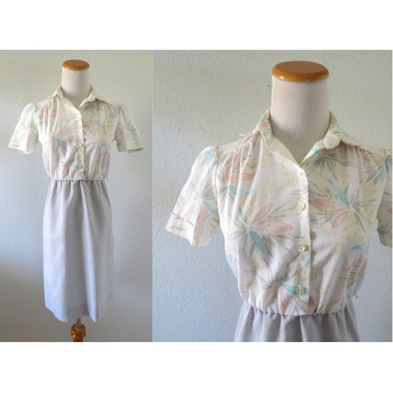 Pastel Floral Dress 80s Secretary Dress