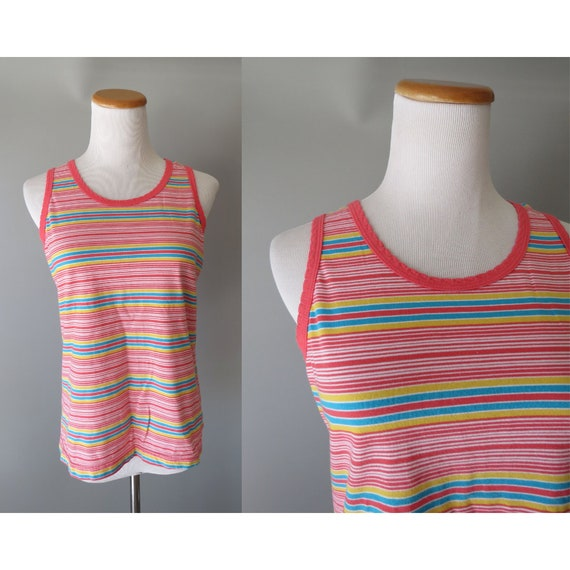 Striped Tank Top / Rainbow Tank Top / 90's Tank / 1990's Striped Top / Cotton Tank Top / Size Medium