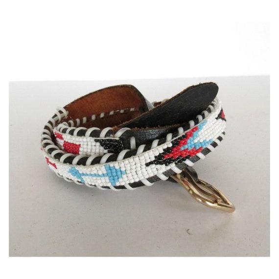 Native American Belt / Seed Bead Belt / Indian Belt / Thunderbird Belt / Leather Souvenir Beaded Belt / Size XS Small
