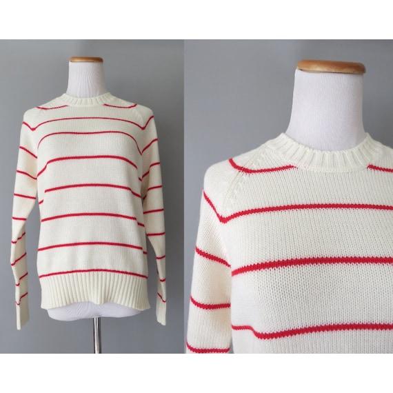 80's Striped Sweater / Red & White Stripe Sweater / Size Medium / Mod Sweater / 1980's Pullover Sweater / Nautical Sweater