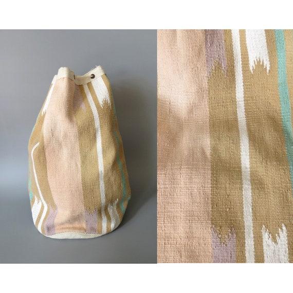 Southwestern Bag / Pastel Purse / Southwest Tote Bag / Indian Duffel Bag / Drawstring Kilim Bag / Hippie Boho Festival Tote