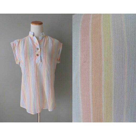Pastel Striped Blouse / Rainbow Top / Pastel Rainbow Shirt / 80's Blouse / Dolman Blouse / Kawaii Top / Rainbow Sherbet Blouse